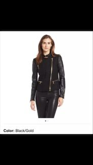 Womens wool jacket with faux leather sleeve size 8-10 Cammeray North Sydney Area Preview