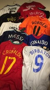 Assorted soccer jerseys