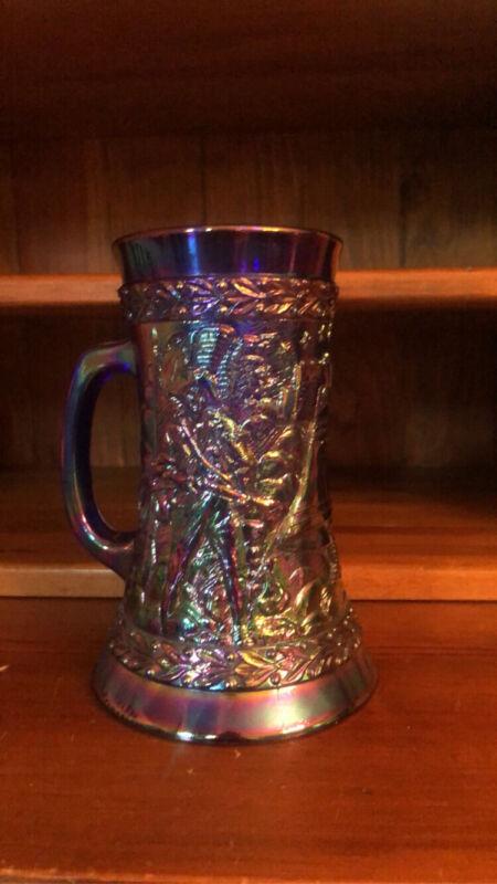FENTON AMETHYST IRIDESCENT CARNIVAL GLASS BICENTENNIAL 1976 BEER STEIN MUG