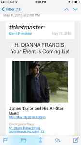 2 James Taylor Tickets