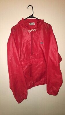 Izod Lacoste 1980's Vintage Red Hooded Windbreaker Jacket Men's XL