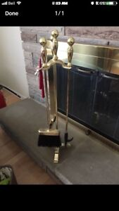 Brass fireplace set heavy duty/wood stove/tools