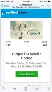 2 Cirque de Soleil Tickets -July 11, 2018 7:30PM