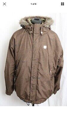 FORUM Field Jacket Brown Comfortable Fur Hooded Winter Snowboard Jacket Men's L