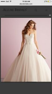 Allure white romance wedding dress. With removeable straps