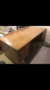 Executive Office Desk And Side Cabinet