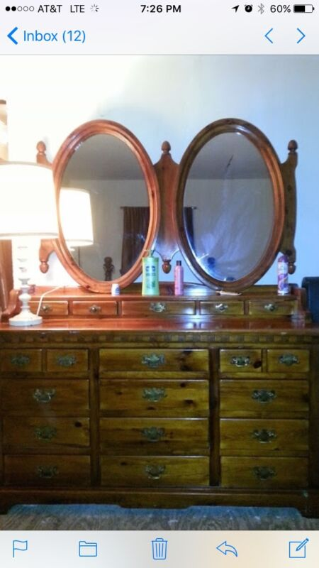 4 Piece Bedroom Set. Solid Wood Dresser With Mirrors, High Boy And Head Board.