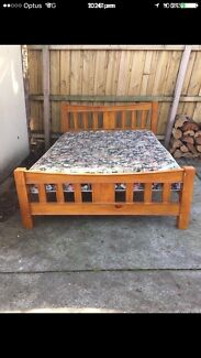 Solid timber queen size bed frame and mattress in excellent condition