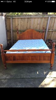 Timber queen size bed frame and mattress in very good condition