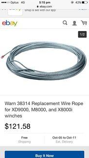 Warn Winch Steel Rope XD9000 New