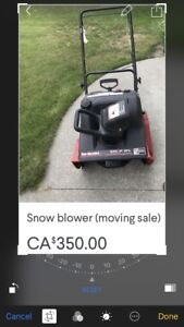 Snow blower moving sale
