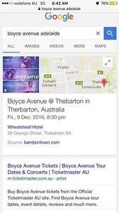 Boyce Avenue Tickets x2 Alberton Port Adelaide Area Preview