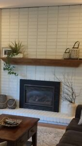 Gas fireplace insert with remote and mantle (if desired)