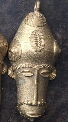 African Tribal Benin Bronze Head Art Pendant