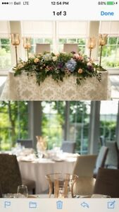 Complete Wedding Centrepiece Package. Gold Candle Holders.