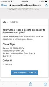Glass Tiger front row tickets