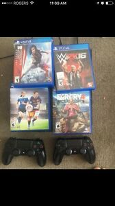 PS4 with 4 games and 2 controllers