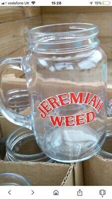 JEREMIAH WEED BOURBON WHISKEY 1/2 PINT JAM JAR GLASS TANKARD - BRAND NEW! X 2