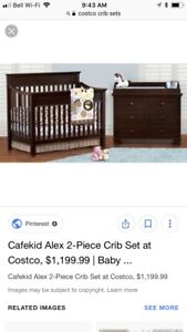 Wood crib and dresser with mattress and pad