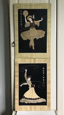 Signed Pair Of Original Oriental Mixed Media- Painting/Paper Cut Art On Board