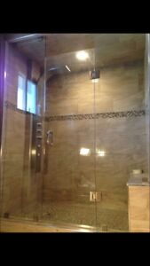 Frameless shower glass doors enclosures bathtub railing stairs