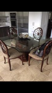 """54"""" Square Glass Top Kitchen Table - $300 OBO"""