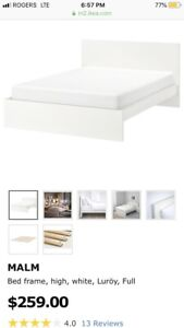 IKEA white malm bedframe (double)used conditions FREE DELIVERY