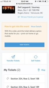 Def Lepard/Journey  2 Tickets discounted can't go!