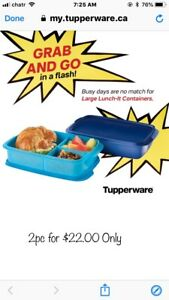 Brand New Tupperware Large Lunch-It Containers 2 pcs Set
