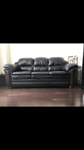 3 Seat Leather Couch - Black