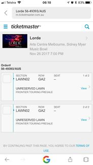 2x Lorde Tickets, Sidney Myer Music Bowl 26/11/17