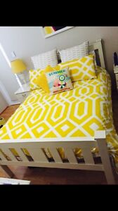 White timber double bed frame Glenmore Park Penrith Area Preview