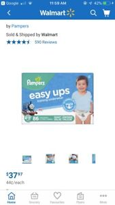 Unopened package - 86 pull up diapers 4/5t