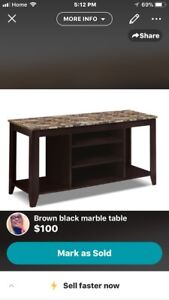 Tv stand marble brown