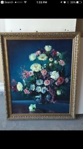 Oil painting and cross stitches