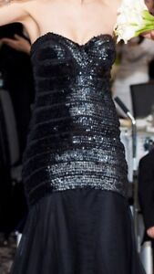 Black mermaid dress strapless with sequence