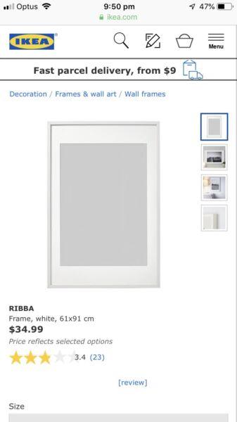 Ribba ikea white frame 61 x 90 cm | Picture Frames | Gumtree