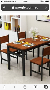 Wooden/ metal style 6 piece dining table