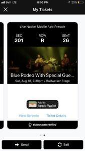 Blue Rodeo tickets Aug 18 Toronto