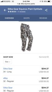 Sitka equinox pants. New with tags