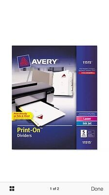 Customizable Print-On Dividers, 5-Tab, Letter, 5 Sets