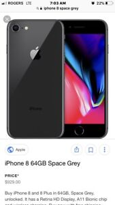 IPhone 8 64gb space grey almost a week old