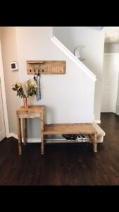 Front door bench w/shoe rack