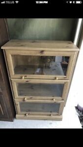 Three Shelf Wood & Glass Cabinet