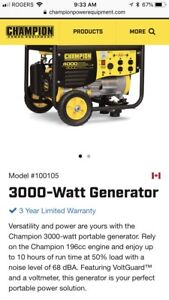 Champion generator, 4000w /3000w - used once in box
