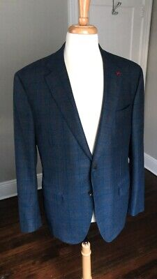 NWOT ISAIA Sanita Blue-Green Check Double Play Super 120s Coat Jacket 46R