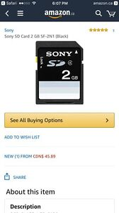 Sony 2gb SD card (worth $45) (Never Opened)