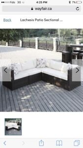 Outdoor sectional couch patio set with cushions