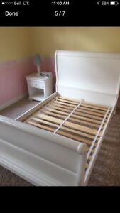 Sleigh bed frame - solid maple, white finish