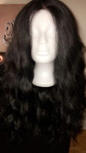 180 Density Long Loose Curly Synthetic Lace Front Wigs Black